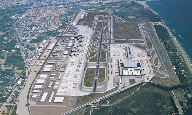 No de Gavà i El Prat a la quarta pista de l'aeroport sobre el mar