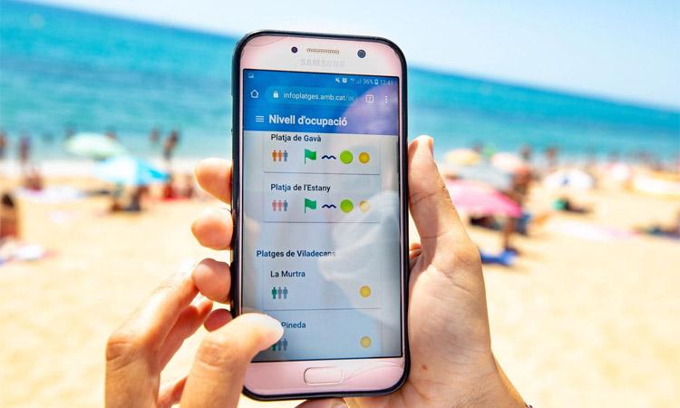 Un servei informatiu de l'AMB mostra l'ocupació de les platges
