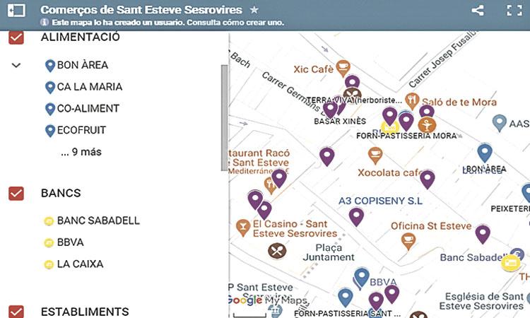Sant Esteve crea un mapa virtual dels comerços oberts