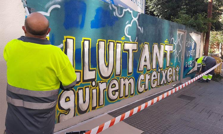 L'Ajuntament d'Esplugues esborra un mural dedicat a Adrià Carrasco