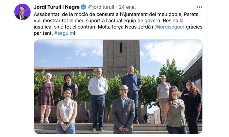 Jordi Turull dona suport a Seguer contra la moció de censura de Parets