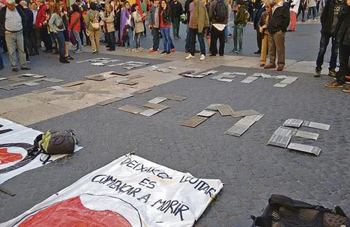 La campanya també ha arribat a Sant Jaume. Foto: Twitter (@AJCassoles)