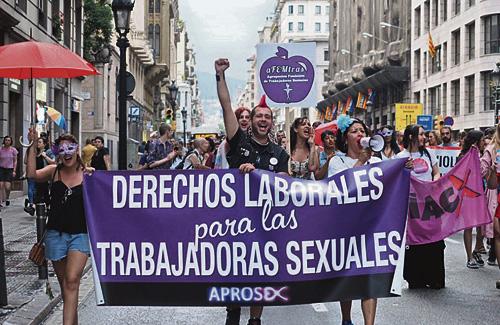 Una manifestació a favor dels drets de les prostitutes. Foto: Twitter (@aprosex)